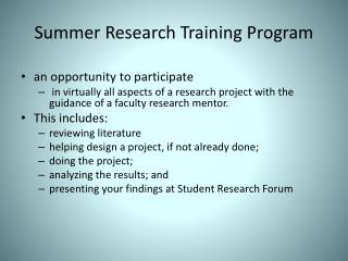 Summer Research Training Program