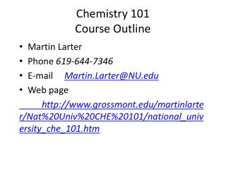 Chemistry 101  Course Outline Course