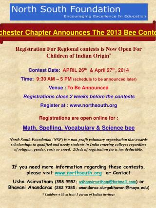 Rochester Chapter Announces The  2013  Bee Contests