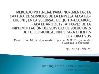 Maestr ía  en Administración de Empresas. MBA. Programa de Habilidades Múltiples.