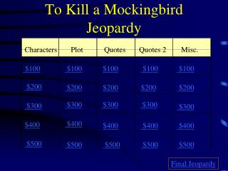 To Kill a Mockingbird Jeopardy