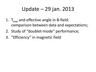 Update – 29  jan .  2013