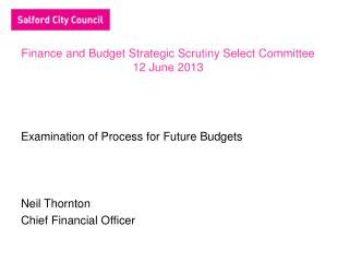 Finance and Budget Strategic Scrutiny Select Committee 12 June 2013