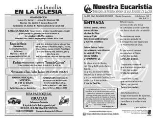 No .  410   XXVIII  DOMINGO ORDINARIO      Mes del Compromiso         14 de Octubre 2012
