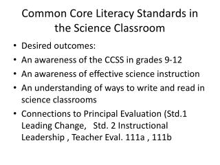 Common Core Literacy Standards in the Science Classroom