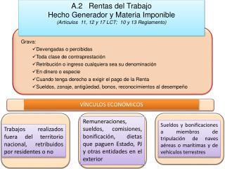 A.2   Rentas del Trabajo Hecho Generador y Materia Imponible