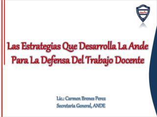 Las Estrategias Que Desarrolla La Ande  Para La Defensa Del Trabajo Docente