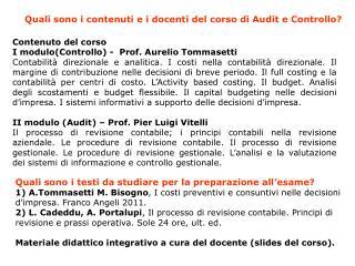 Contenuto del corso I modulo(Controllo ) -  Prof. Aurelio  Tommasetti