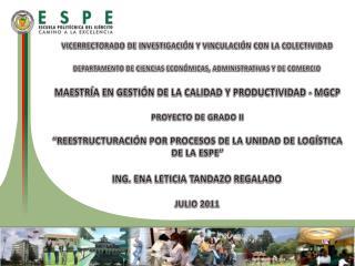 VICERRECTORADO DE INVESTIGACIÓN Y VINCULACIÓN CON LA COLECTIVIDAD