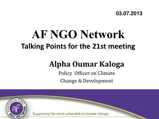 AF NGO Network Talking Points for the 21st meeting