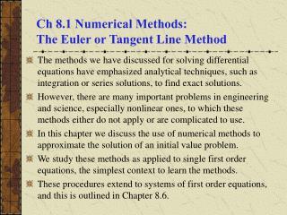 Ch 8.1 Numerical Methods: The Euler or Tangent Line Method