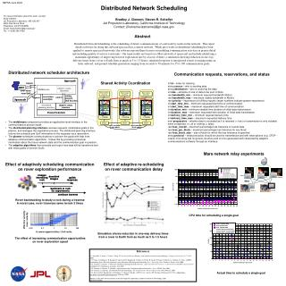 Distributed Network Scheduling  Bradley J. Clement, Steven R. Schaffer Jet Propulsion Laboratory, California Institute o