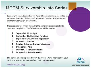 MCCM Survivorship Info Series