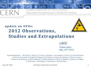 update on UFOs: 2012  Observations , Studies  and Extrapolations