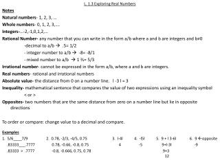 L. 1.3 Exploring Real Numbers Notes Natural numbers - 1, 2, 3, … Whole numbers - 0, 1, 2, 3,….