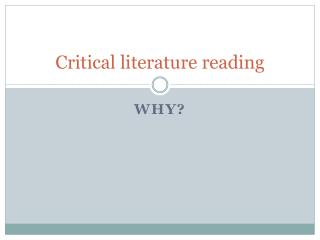 Critical literature reading