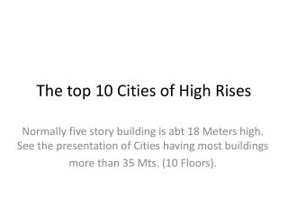 The top 10 Cities of High Rises