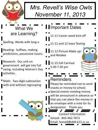 Mrs.  Revell's  Wise Owls November 11,  2013