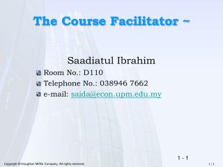 The Course Facilitator ~