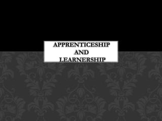 APPRENTICESHIP   AND  LEARNERSHIP