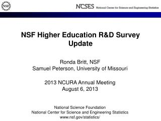 NSF  Higher Education R&D  Survey Update