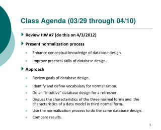 Class Agenda  (03/29 through 04/10)