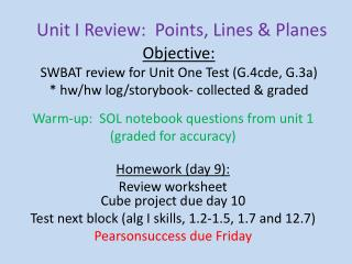 Unit I Review:  Points, Lines & Planes