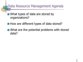 Data Resource Management Agenda
