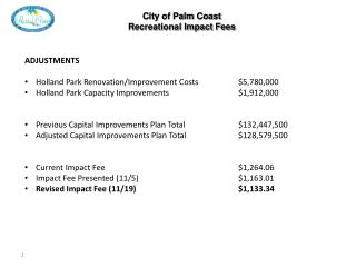 City of Palm Coast Recreational Impact Fees