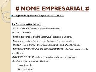 # NOME EMPRESARIAL #