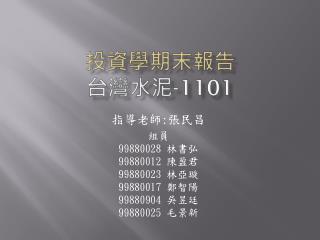 投資學期末報告 台灣水泥 -1101
