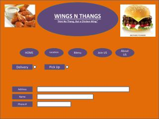 "WINGS N THANGS "" Aint  No  Thang , But a Chicken Wing"""
