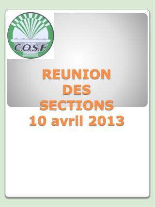 REUNION DES  SECTIONS 10 avril 2013