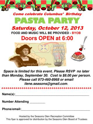 Come celebrate Columbus'  Birthday  PASTA PARTY  Saturday, October 12, 2013