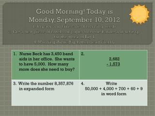 Morning Work wk of September 10