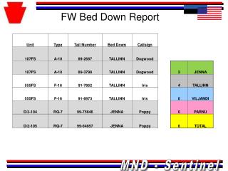 FW Bed Down Report