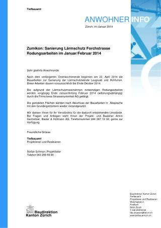 Zumikon: Sanierung Lärmschutz  Forchstrasse Rodungsarbeiten im Januar/Februar 2014