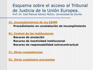 Esquema sobre el acceso al Tribunal de Justicia de la Uni n Europea.  Prof. Dr. Jos  Manuel G mez Mu oz. Universidad de