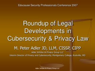 Roundup of Legal Developments in Cubersecurity  Privacy Law