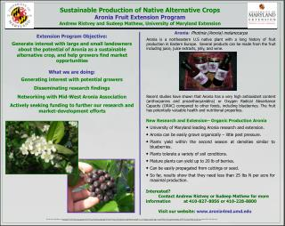 Sustainable Production of Native Alternative Crops Aronia  Fruit  Extension Program