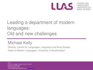 Leading a department of modern languages:  Old  and new challenges