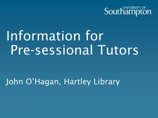 Information for  Pre-sessional Tutors