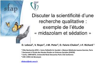D.  Leboul 1 ,  V.  Royer 2 ,  J-M.  Peter 3 ,  D.  Faivre-Chalon 4 ,  J-F.  Richard  1