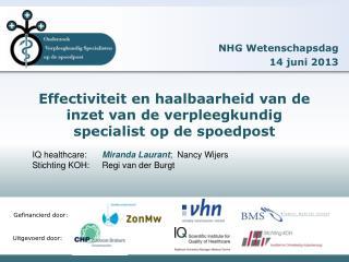Effectiviteit en haalbaarheid van de inzet van de verpleegkundig specialist op de spoedpost