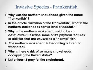 Invasive  Species -  Frankenfish