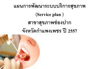 แผนการพัฒนาระบบบริการสุขภาพ ( Service plan  ) สาขาสุขภาพช่องปาก จังหวัดกำแพงเพชร ปี  2557
