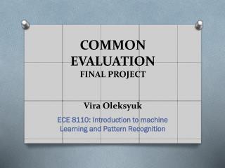 COMMON EVALUATION FINAL PROJECT Vira Oleksyuk