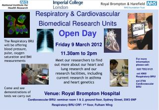 Respiratory & Cardiovascular Biomedical Research Units  Open Day