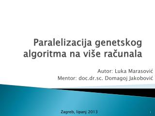 Paralelizacija  genetskog algoritma na više računala