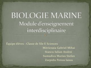 BIOLOGIE MARINE Module d'enseignement interdisciplinaire